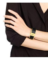 Tory Burch | Black Skinny Leather Inlay Cuff | Lyst