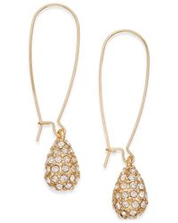 INC International Concepts | Metallic Gold-tone Pavé Teardrop Earrings | Lyst