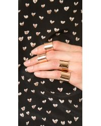 Luv Aj Pink Tall Plain Ring Set - Shiny Rose Gold