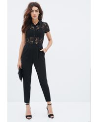 Forever 21 - Black Lace-paneled Jumpsuit You've Been Added To The Waitlist - Lyst