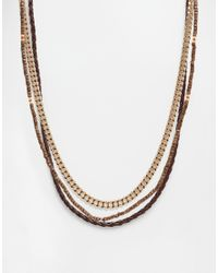 ASOS | Metallic Necklace Pack With Rope Chain And Leather for Men | Lyst