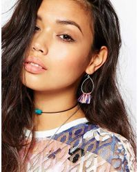 ASOS - Multicolor Open Triangle & Circle Drop Earrings - Lyst