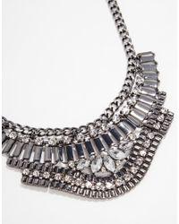Lipsy | Metallic Haematite V Bar Collar Necklace | Lyst