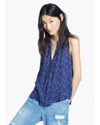 Mango Blue Flowy Printed Top