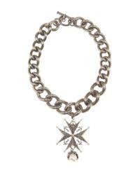 Alexander McQueen - Metallic Crystal-embellished Chain Chocker - Lyst