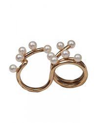 Bernard Delettrez | Metallic Two Finger Pearl Ring | Lyst