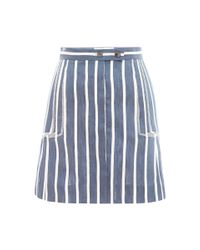 Thom Browne - Blue Linen and Silk Striped Skirt - Lyst