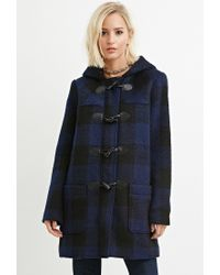 Forever 21 - Blue Toggle-front Plaid Coat - Lyst