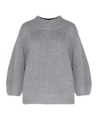 Pixie Market | Gray Grey Puffy Sleeve Sweater | Lyst