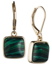 Anne Klein | Gold-tone Green Stone Leverback Earrings | Lyst
