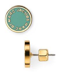 Marc By Marc Jacobs Green Enamel Logo Disc Stud Earrings