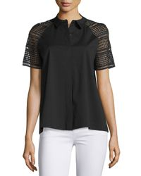 Lafayette 148 New York Black Ingrid Lace-sleeve Button-front Blouse