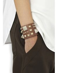 Valentino | Brown Rockstud Large Caramel Leather Cuff | Lyst
