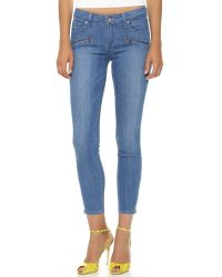 PAIGE Blue Jane Zip Ultra Skinny Jeans - Lovelight No Whiskers