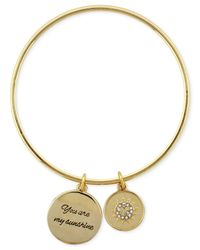 "BCBGeneration | Metallic Gold-tone ""you Are My Sunshine"" Sun Double Charm Bangle Bracelet 