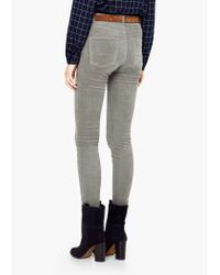 Mango - Gray Corduroy Slim-fit Trousers - Lyst