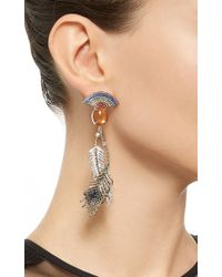 Lydia Courteille - Multicolor One Of A Kind Reverse Rainbow Earrings With Feathers - Lyst