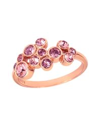 Aurora - Metallic 18ct Rose Gold Plated Multiround Ring - Lyst