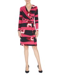 Ellen Tracy Red Mystique Twist Faux Wrap Dress
