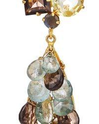 Bounkit | Multicolor Moss Aqua, Smoky Topaz, Labradorite And Lemon Quartz Briolette Earrings | Lyst
