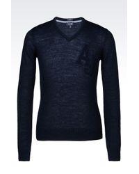 Armani Jeans | Blue V-neck Jumper In Wool Blend for Men | Lyst