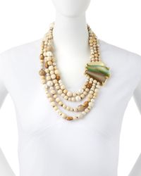 Alexis Bittar | Brown Multi-strand Beaded Necklace With Lucite | Lyst