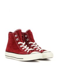 Converse   Red Chuck Taylor Suede High-top Sneakers   Lyst