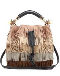 Chloé - Natural Gala Small Fringed Suede Shoulder Bag - Lyst