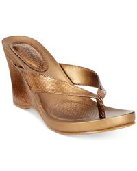 Style & Co. | Metallic Style&co. Chicklet Wedge Thong Sandals, Only At Macy's | Lyst