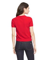 kate spade new york - Red Ruffle Front Sweater - Lyst