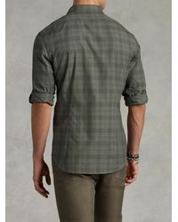 John Varvatos - Green Adjustable Sleeve Slim Fit Shirt for Men - Lyst