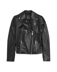 McQ Black Quilted Leather Biker Jacket