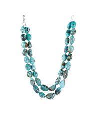 Ralph Lauren - Blue Turquoise Doublerow Necklace - Lyst