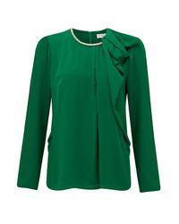 Almost Famous - Green Necklace Blouse - Lyst