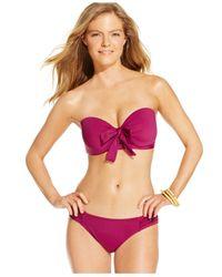Tommy Bahama - Purple Ruched Side-tab Hipster Bikini Bottom - Lyst