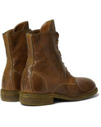 Guidi - Brown Burnished Pebble-Grain Leather Boots for Men - Lyst