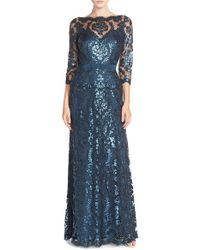 Tadashi Shoji | Blue Illusion-Yoke Sequinned Lace Dress | Lyst