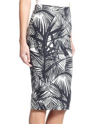 Elizabeth and James Black Aisling Printed Stretch-Scuba Jersey Pencil Skirt
