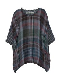 Raquel Allegra | Blue Checked Cotton-gauze T-shirt | Lyst