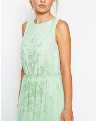 ASOS Green Salon Embellished Waist Scattered Maxi Dress