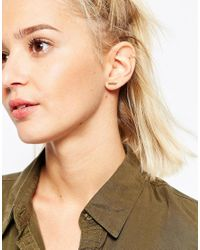 ASOS | Metallic Rose Gold Plated Sterling Silver Solid Bar Earrings | Lyst