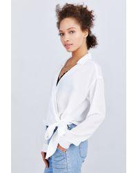 Lucca Couture White Surplice Side-tie Blouse