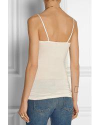 By Malene Birger White Wasikio Lace-Paneled Stretch-Modal Camisole