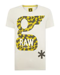 G-Star RAW | White Glims Regular Fit Graphic Crew Neck T-shirt for Men | Lyst
