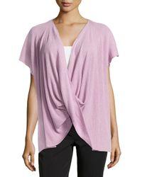 Natori Purple Draped Short-sleeve Ribbed Sweater