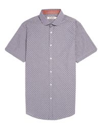 Ben Sherman Blue Spot Print Chambray Short Sleeve Shirt for men