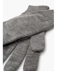Mango | Gray Ribbed Knit Gloves for Men | Lyst