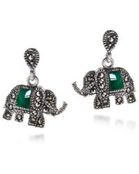 Aeravida | Royal Elephant Green Quartz And Marcasite .925 Silver Earrings | Lyst
