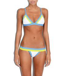 MILLY - Blue Cabana Amalfi Colorblock Triangle Bikini Top - Lyst