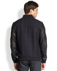 Theory - Blue Torin Leather Wool Bomber Jacket for Men - Lyst